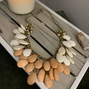 Pink and white statement necklace